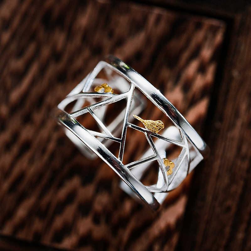 Lotus Vui Giây Phút Thật Nữ Bạc 925 Trang Sức Thời Trang Tối Giản Loài Chim Đáng Yêu Nhẫn Hình Học Nguyên Tố Cho Nữ, Nhẫn Nữ