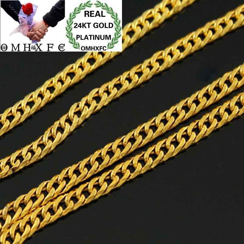 MHXFC hurtownie europejskiej moda mężczyzna mężczyzna Party prezent ślubny długie 47 cm szerokości 3mm płaskie Figaro prawdziwe 24KT złoty naszyjnik łańcuch NL70
