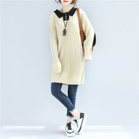 SuperAen Autumn And Winter New Women Sweater Long Sleeved Solid Color Cotton Fashion Sweater Turn Down