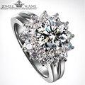 Jewellwang mefairy diana 1.00ct moissanite anéis de luxo carat certified 18 k anéis de ouro para as mulheres de diamante lado pedra de presente de casamento