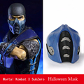 Fighting Game Mortal Kombat absolute zero Cosplay SubZero Mask Blue Half face halloween High-quality PVC mask