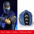 Jogo de luta Mortal Kombat Cosplay SubZero do zero absoluto Azul Máscara Meia face halloween máscara de Alta Qualidade do PVC