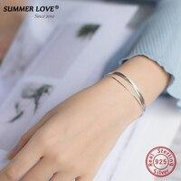 2017 New Simple Multilayer Tassel Snake Chain Bracelet Genuine 100 925 Sterling Silver Jewelry For Women