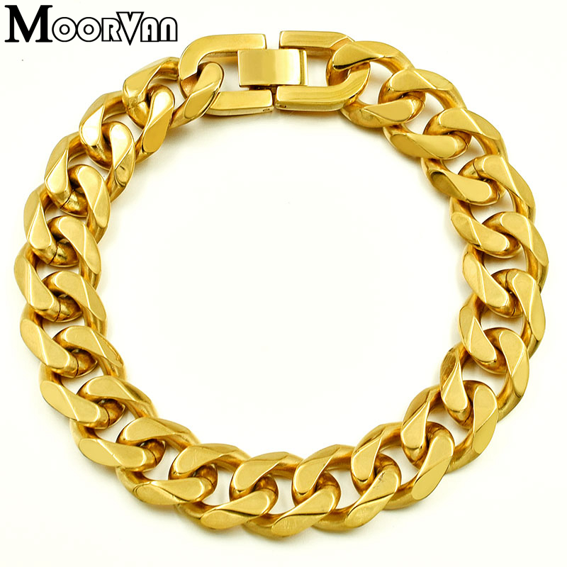 Moorvan Jewelry Men Bracelet Cuban links & chains Stainless Steel Bracelet for Bangle Male Accessory Wholesale B284 19