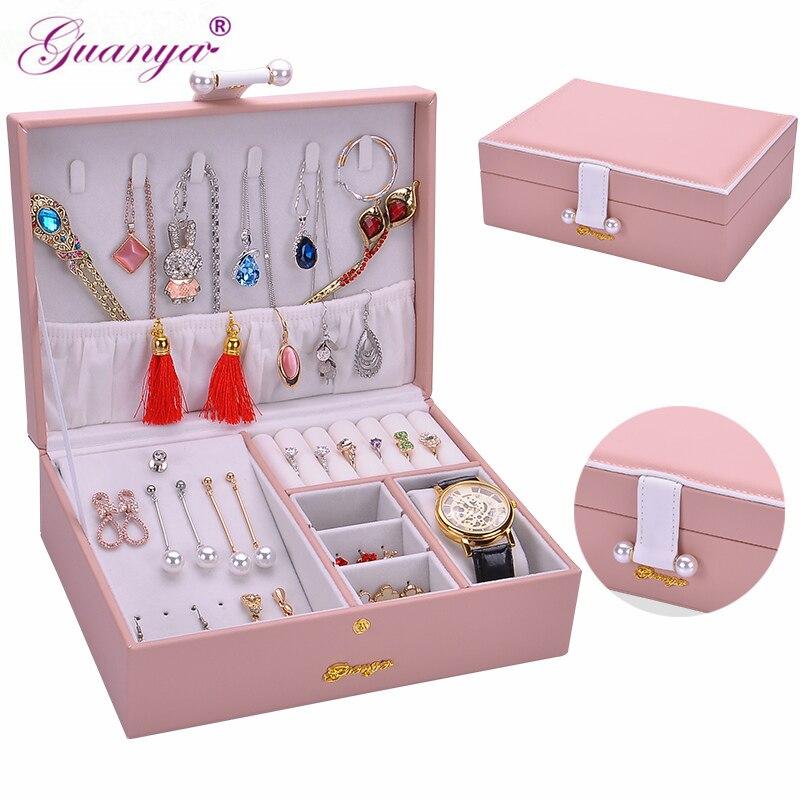 Guanya новая шкатулка 23*17*8 см Подарочная коробка для женщин портативный путешествия часы ювелирные изделия Органайзер кожаный чехол для хране...