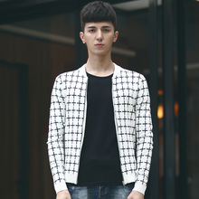 Spring and Autumn new men's casual sweaters cardigan cotton men brand Slim Fit plaid sweater Fashion knitwear