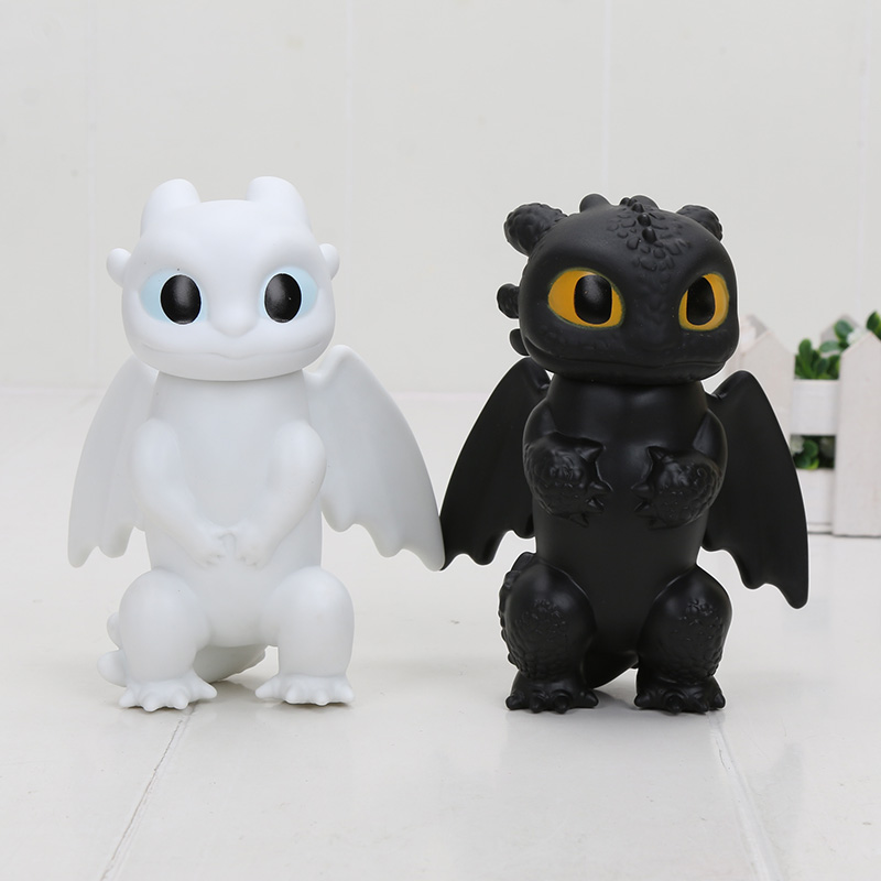 2pcs/set 12cm Toothless Figure Toy How To Train Your Dragon 3 Toothless Night Fury White Dragon Light Fury Action Figure Dolls