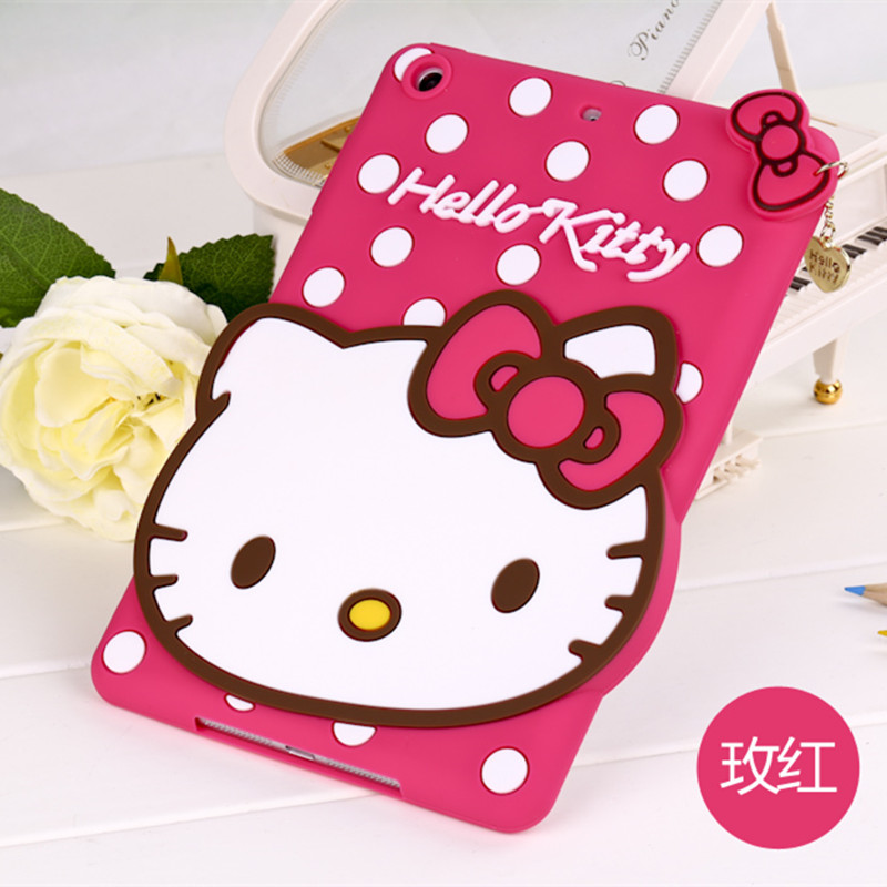 Fashion 3D Cute Hello kitty Soft silicone Rubber Cases Cover For Apple ipad mini 1 2 3 KT Case For Ipad mini2 Mini3 Coque Fundas tpu silicone case for ipad mini 4 cartoon all round protective cover 3d cute soft rubber tablet coque for ipad mini 4 cover