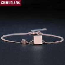 Square Simple Style None Stone RoseGold Color Fashion Jewelry Bracelet For Women Girl Work Party Gift H166(China)