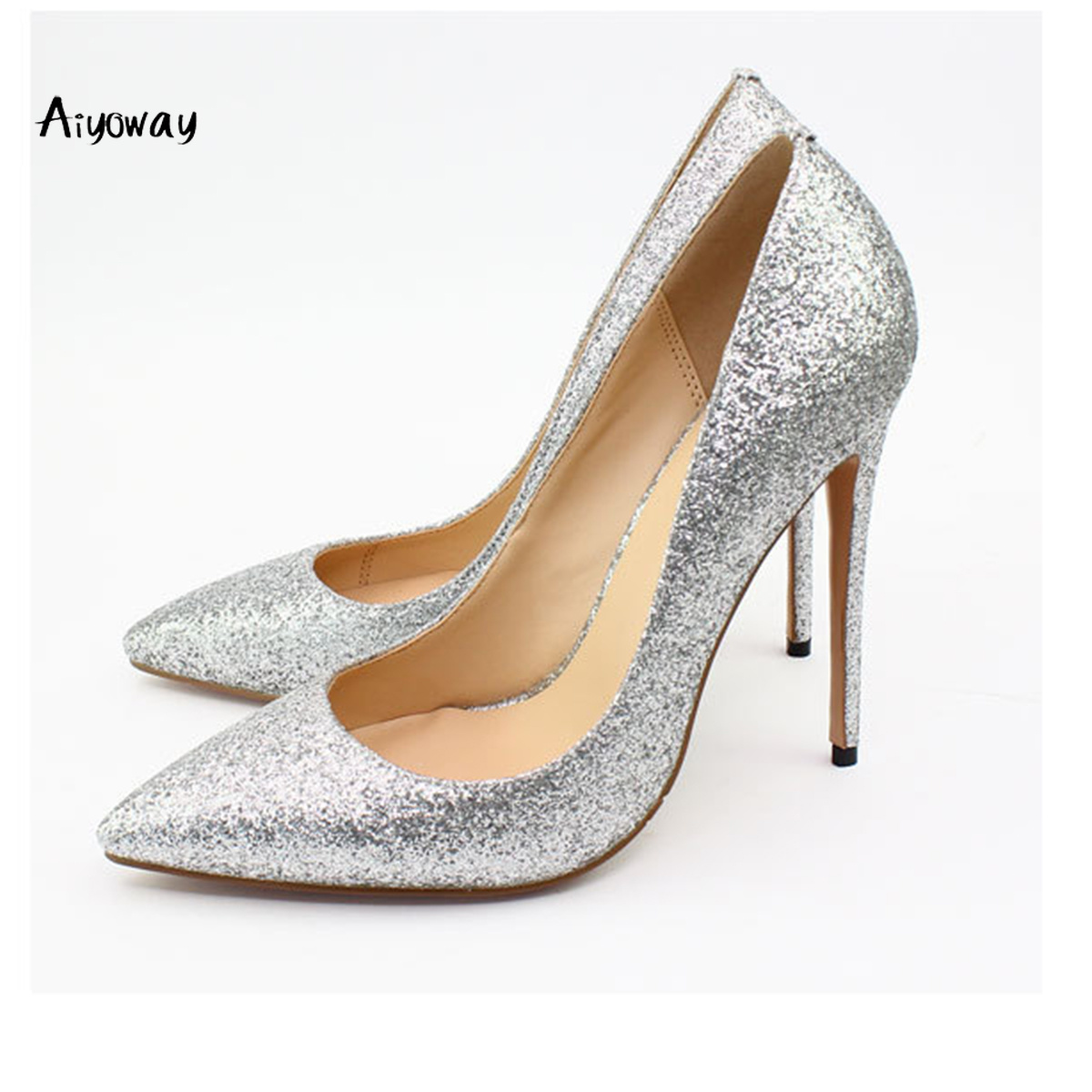 Aiyoway Women Shoes Ladies Pointed Toe High Heels Pumps Glitter Glimmer Autumn Spring Party Clubwear Shoes Silver Pink Black in Women 39 s Pumps from Shoes