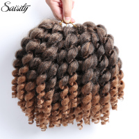 Saisity short thick crochet hair Jumpy wand curl 8 inch 20 strands/pack ombre hair extension synthetic braiding crochet braids
