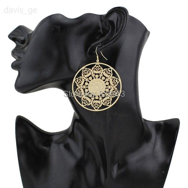 """2015 gros or évider 2.1 """" X 2.1 """" boucles d'oreilles femmes mode bijoux ZC05 livraison gratuite"""