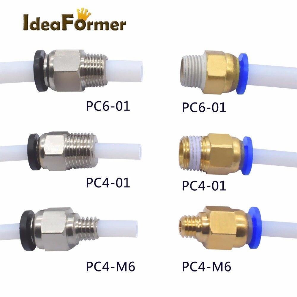 5pcs/lot Pneumatic Connectors For 3D Printers Parts Black/Blue Quick Jointer Feeding 1.75/3.0mm Filament Pipe Push Part