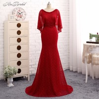Robe De Soiree 2017 Evening Dresses Long Abendkleider Red Mermaid Scoop Lace Prom Gown With Jacket