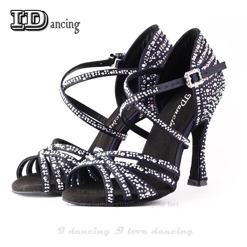 Black Dance Shoes Dancing Woman Shoes Party Square Jazz Shoes Dance Dance Shoes Women's Latin Rhinestone JuseDanc