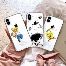 GYKZ Cartoon TPU Soft Clear Phone Case For iPhone X XS MAX XR 7 8 6 6s Plus SpongeB Planet Dinosaur Cover Coque Fundas