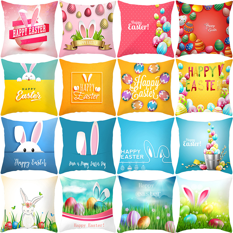45*45cm 2020 Cotton Rabbit Happy Easter Decorations For Home Pillows Bunny Eggs Pillow Cases Cushion Cover Easter Decor Wielkano