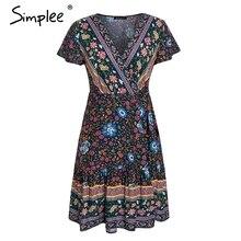 Bohemian floral mini women summer dress