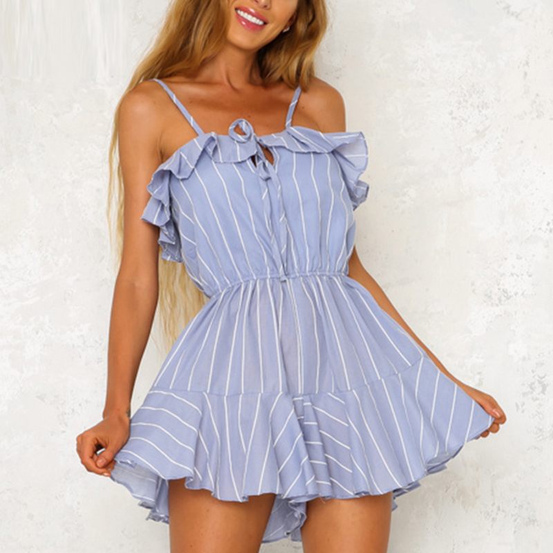 Lily Rosie Girl Ruffles striped women jumpsuit Flare wide leg playsuit Summer 2018 backless sky blue chic casual romper overalls