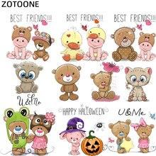 ZOTOONE Children DIY Patch Cute Bear Iron on Cloth Patches Transfer Sticker Vinyl Heat Press T-shirt Applique Decoration G