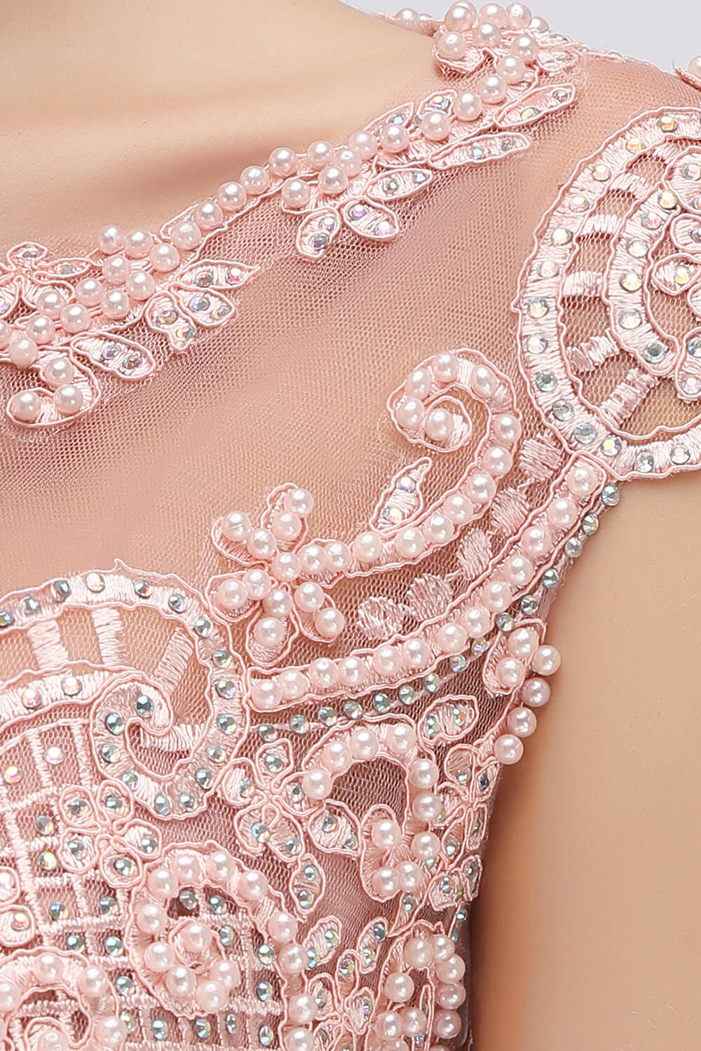 Babyonlinedress Luxury Crystal And Pearls Decorated Evening Dress 2019 Fashion Design Floor Length Chiffon Lace Formal Dresses