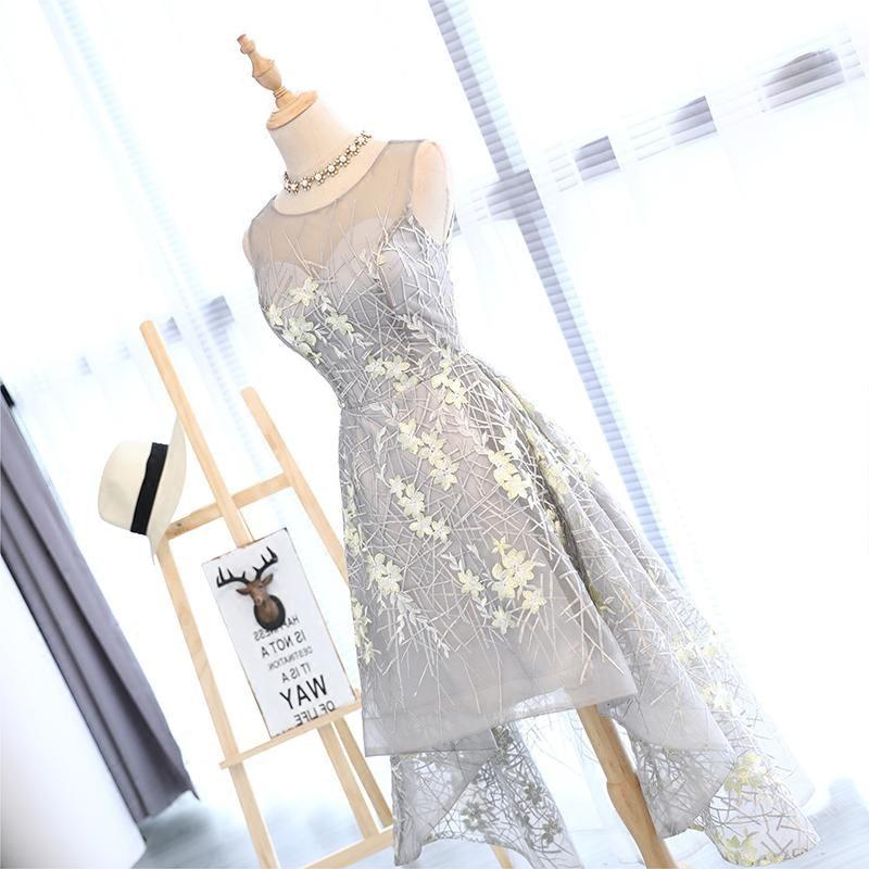 I lager Really Photo Silvery Scoop Neck Tulle Med Appliques Broderi - Särskilda tillfällen klänningar - Foto 4
