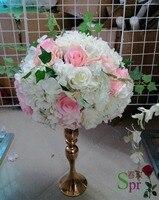 SPR hồng với xanh trắng bàn đám cưới trung tâm flower bóng trang trí nhân tạo vòm bên backdrop trang trí flore