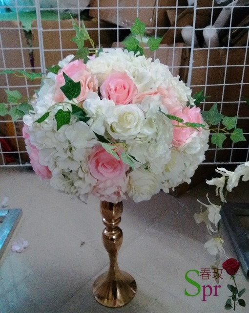 Aliexpress buy spr pink with green white wedding table spr pink with green white wedding table centerpiece flower ball decoration artificial arch party backdrop decorative mightylinksfo