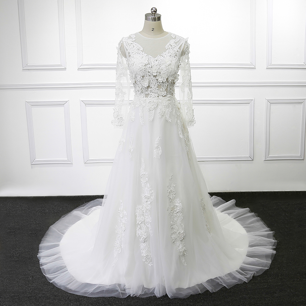Buy vintage bridal dress lace long sleeve for Wedding dress appliques suppliers
