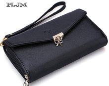 Women Handbags font b Clutch b font Wallet Bag 2016 Fashion PU Leather Long Bow Mobile