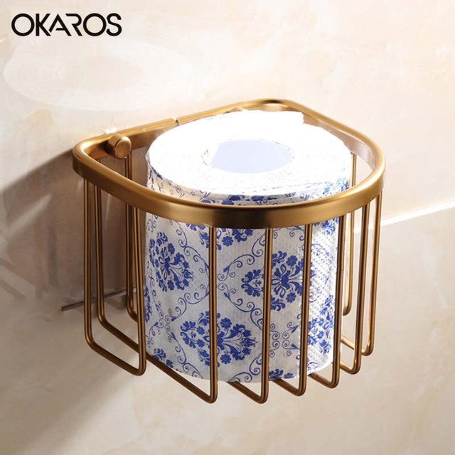 Okaros Bathroom Space Aluminum Wall Mounted Toilet Paper Roll Basket