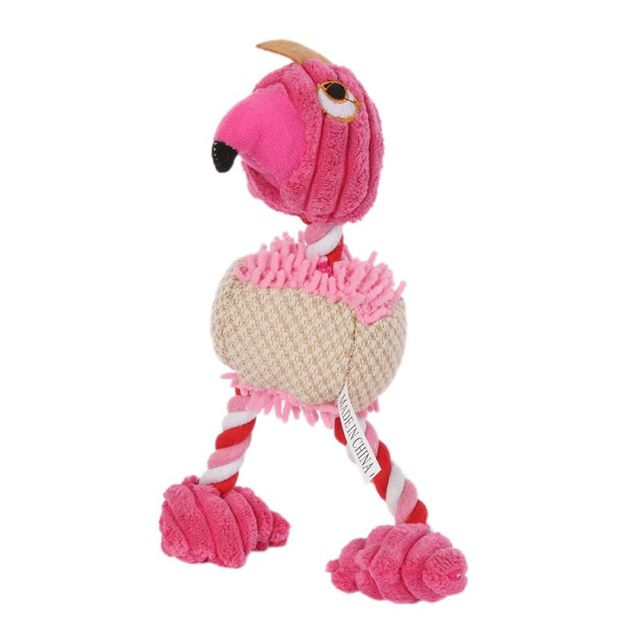 28*6cm Pet Products Bird Shape Plush Dog Toy for Small Dogs Green Pink Orange