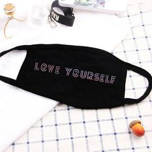 1Pc Women Men Unisex Kpop Laser Letters Printed Cotton Half Face Mouth Mask Anti-Dust Respirator Fans Supportive