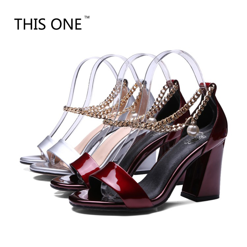 THIS ONE NEW 2018 Women Sandals Patent Leather Sandals New Leather Chains Buckle High Heels Sandals Dress Wedding Shoes WomanTHIS ONE NEW 2018 Women Sandals Patent Leather Sandals New Leather Chains Buckle High Heels Sandals Dress Wedding Shoes Woman