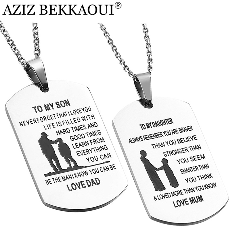 AZIZ BEKKAOUI TO MY SON Stainless Steel Pendant Necklaces Engrave Name Love Dad/Mum ID Tag Necklaces Customized Logo Jewelry