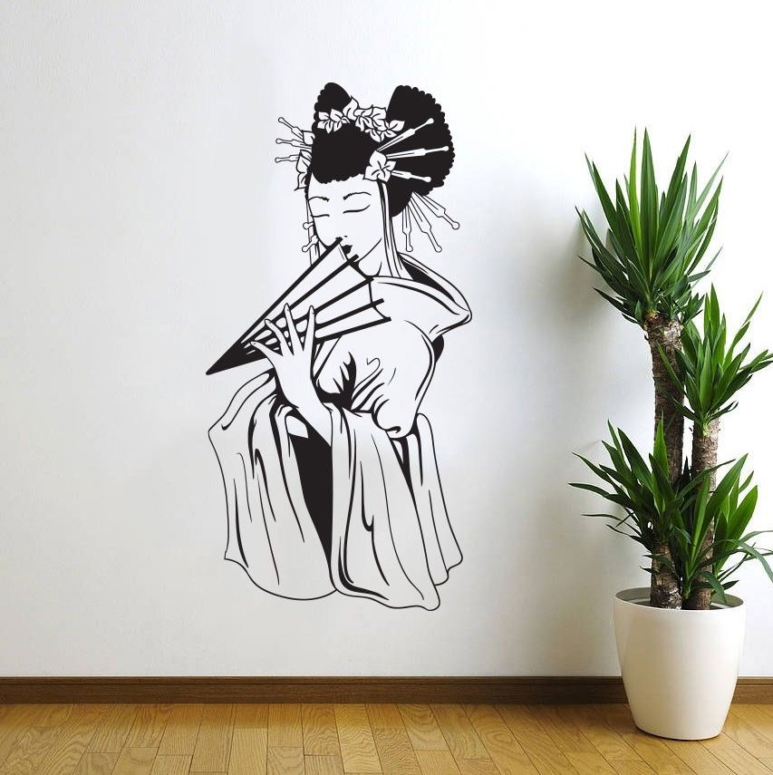 oriental woman girl japanese geisha wall decal decor
