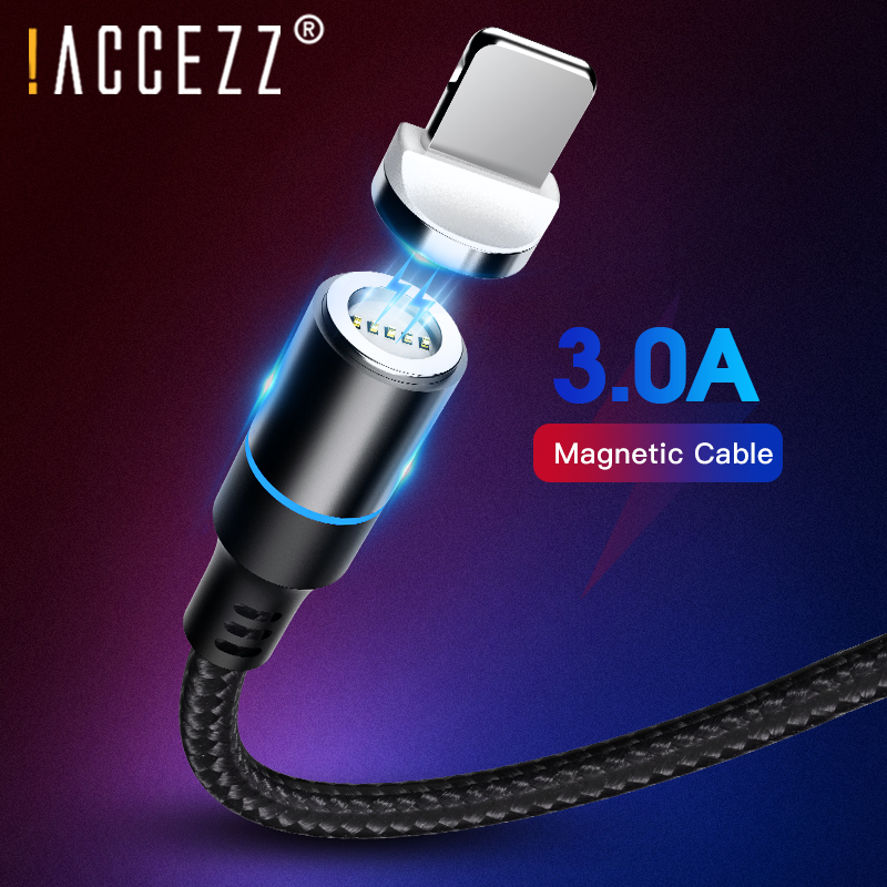 ACCEZZ 3A Fast Charging Magnetic USB Cable For iPhone 7 XR XS Plus Micro USB Type C For Samsung Xiaomi LG Magnet Charger Cables in Mobile Phone Cables from Cellphones Telecommunications