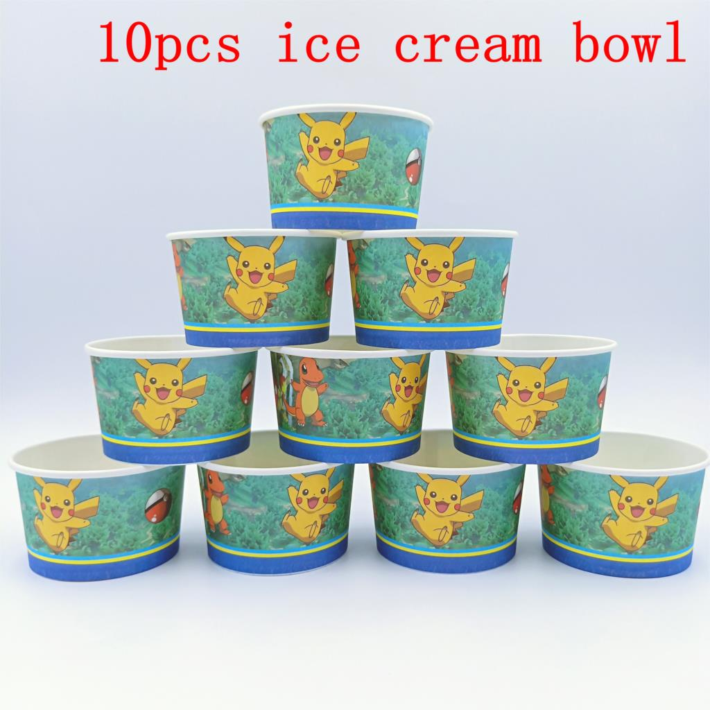 10pcs/lot Pikachu Theme Ice Cream Cups Baby Shower Party Supplies Bowl Kids Birthday Decoration