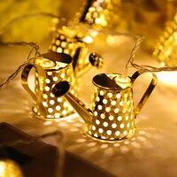 20Led Fada do Metal do Ouro de Rega pode Bateria Operado Luzes Da Corda 3 M LEVOU Decoração Para Guirlanda De Natal Na Janela abajur
