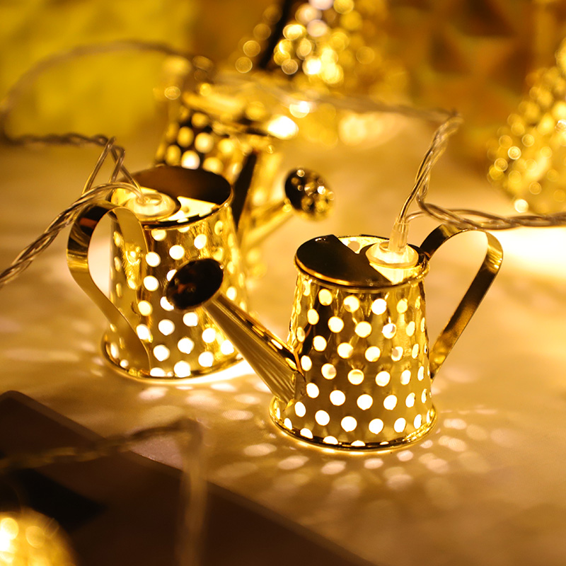 20Led Fairy Metal Gold Watering can Battery Operated String Lights 3M LED Decor For Christmas Garland On The Window abajur 20led fairy metal gold watering can battery operated string lights 3m led decor for christmas garland on the window abajur