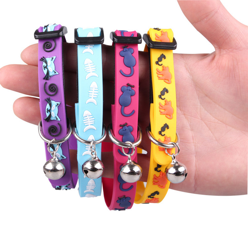1pcs Adjustable Breakaway Cat Collar With Bell Rainbow Cat Collar Dog Mouse Fish  Kitten Pet Cats Collars For Small Dog Necklace