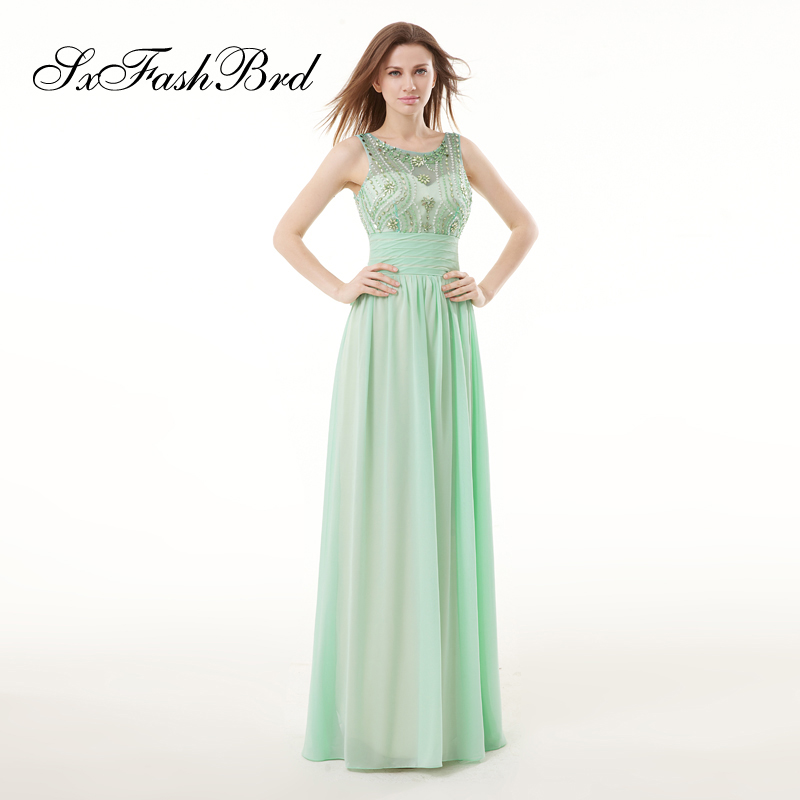 Robe Longue O Neck With Beading Open Back A Line Chiffon Long Formal Elegant   Dresses   for Women Evening Party   Prom     Dress