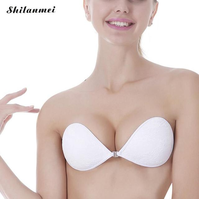 a521cc4d9d Women s Bra Stick On Invisible Push Up Bra Femme Strapless Silicone  Bralette Intimates breast pad Thicker Seamless Bras Wedding