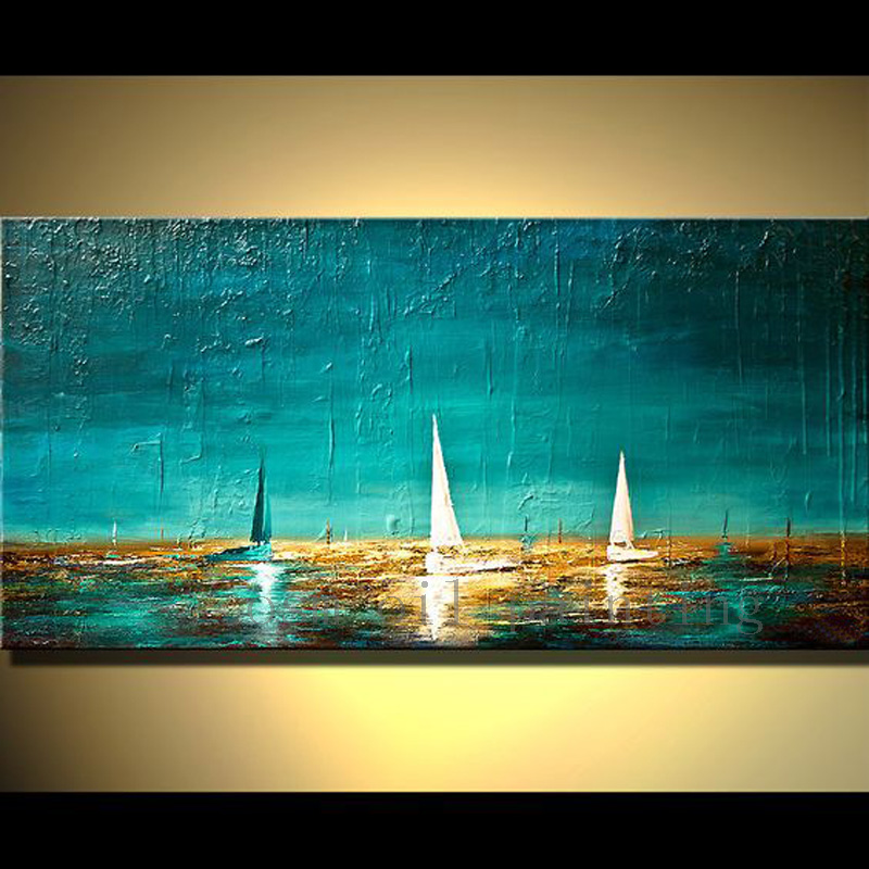 Original Big Oil Painting Abstract Sailboat Oil Picture for Living Room Home Decor Handmade Modern Turquoise Seascape Painting صور لوحات غرف نوم