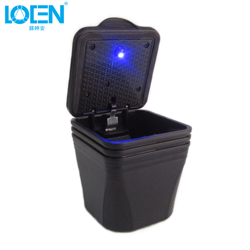 LOEN Square Black Car Ashtray Blue Led Light Office Travel Portable Safe Driving Tobacco Ash Storage For Toyota Honda