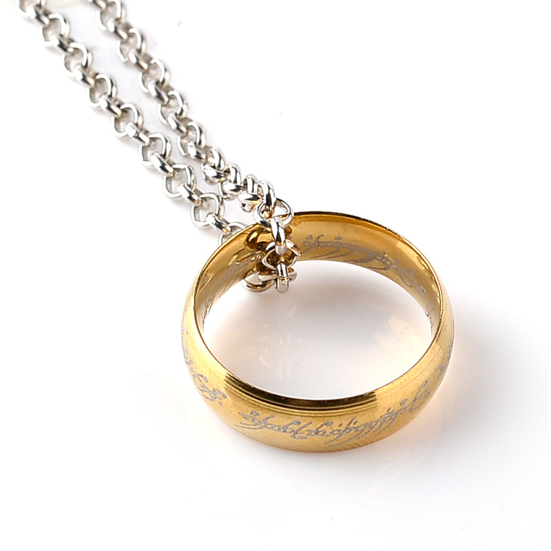 Wholesale High Quality silver gold black movie ring Pendant necklace Trendy The Lord Rings the hobbit Ring necklace jewelry gift