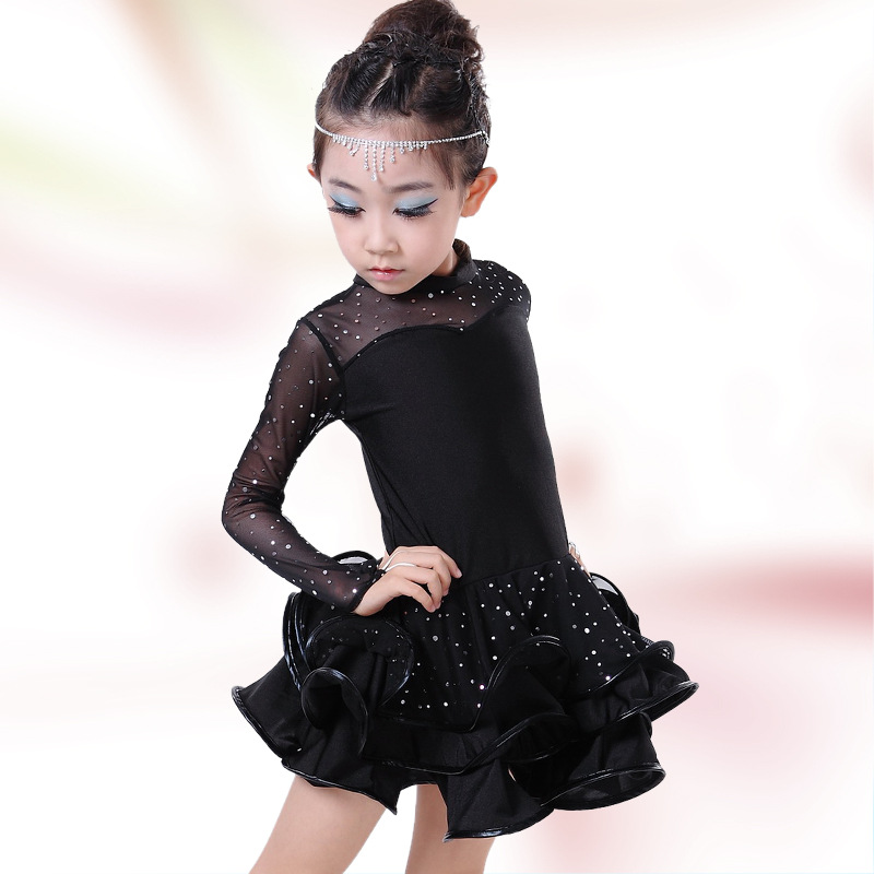 Free Shipping Black Latin Ballroom Dance Dress Girls Long Sleeves Tango Dress Children Salsa Ramba Costume Kids Stage Dancewear