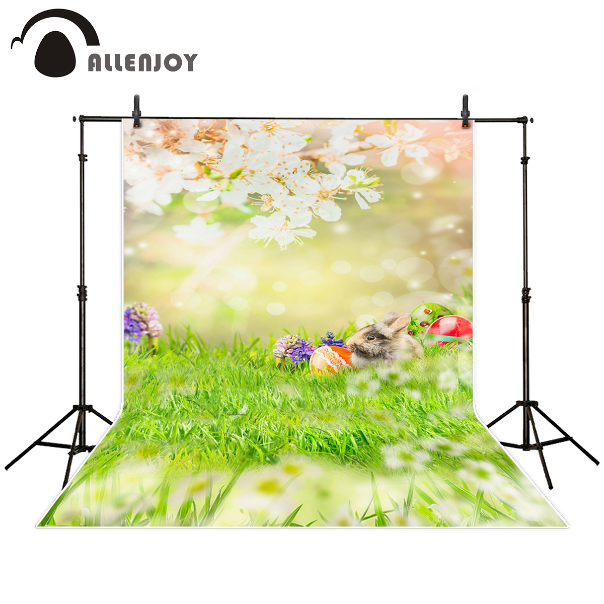 Allenjoy photography backdrop easter spring egg flower rabbit bokeh halo grass background photo studio photo prop custom allenjoy photography background blue red abstract christmas background golden stars glitter bokeh lights backdrop photo studio
