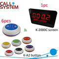 Top Popular Coffee Shop Service Restaurant Waiter Buzzer Table Call Button Guest Paging System(1 display 6 button)