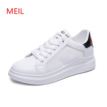 Women White Platform Sneakers for Casual Flat Shoes 2018 Student Lace Up Ladies Trainers